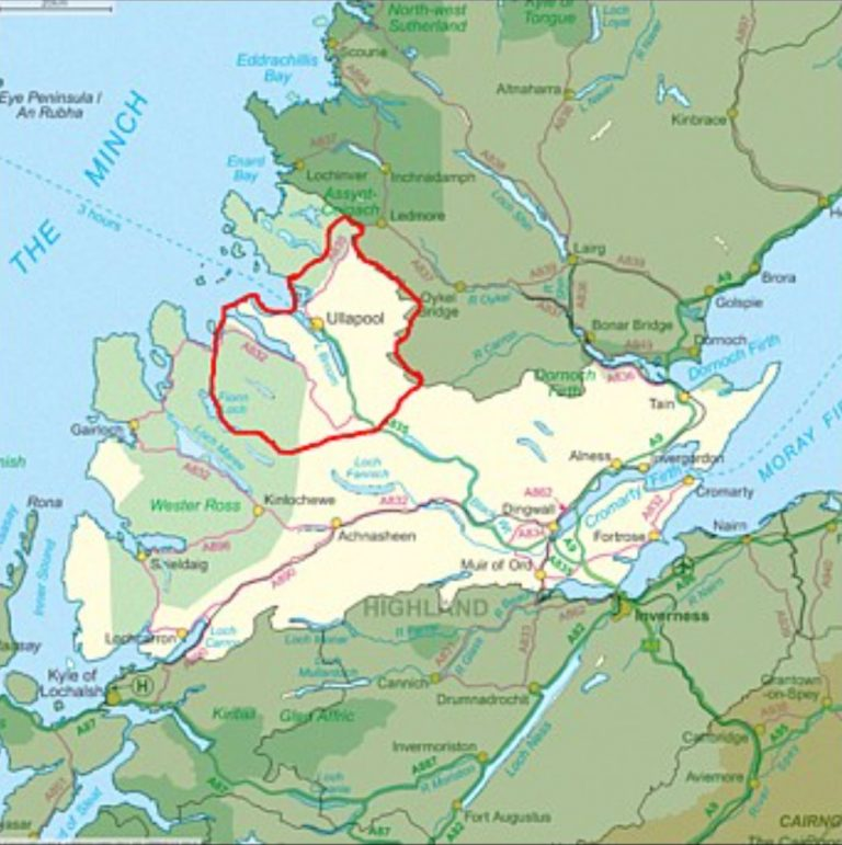 Map showing Ullapool in north west Scotland